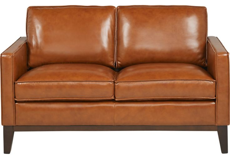 Greenwich Sienna Brown Leather Loveseat-Leather Loveseats (Brown)
