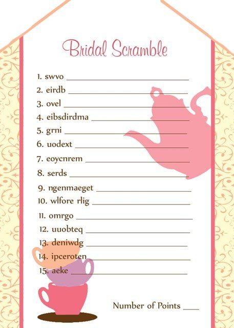 Printable Tea Party Bridal Shower Games No. by Moments2Celebrate