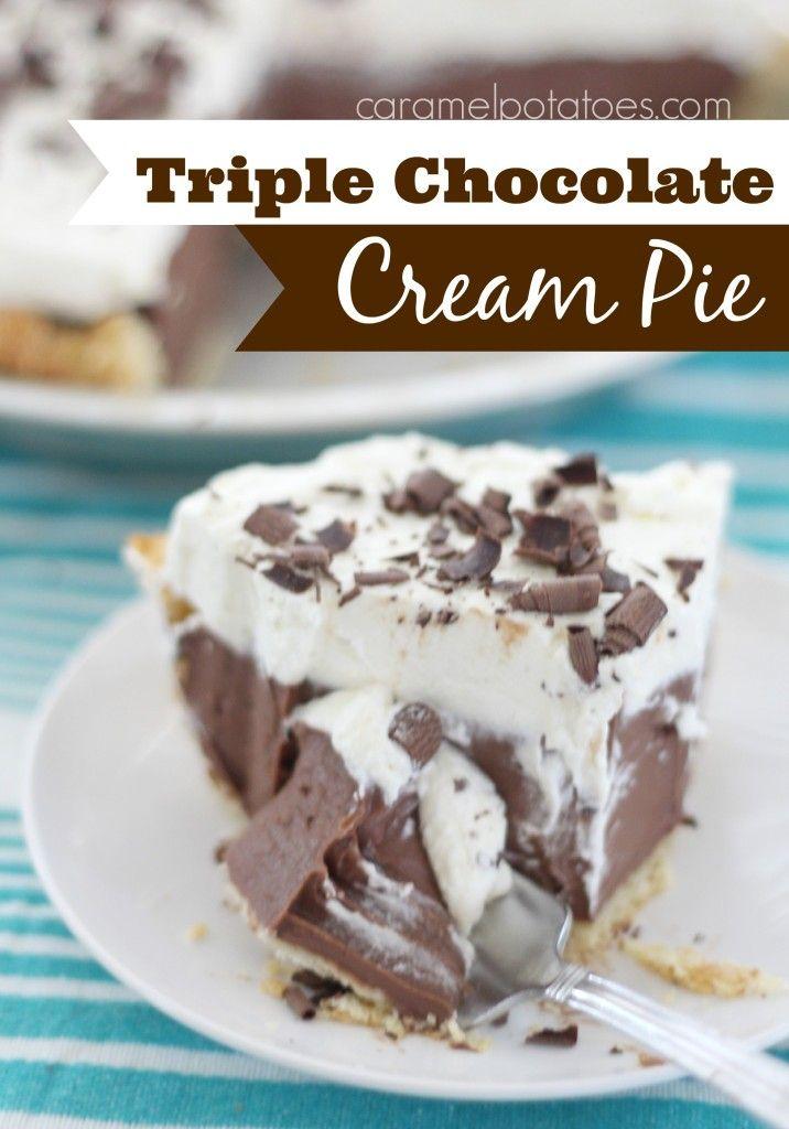 Triple Chocolate Cream Pie - Oh My Oh My!
