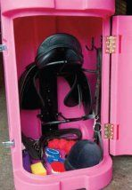 Tack Pack - rolling tack locker.  2 removable saddle racks, 2 bridle hooks The Horse Jump website