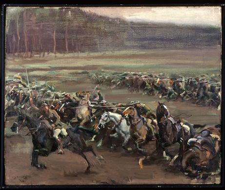 This painting is called Charge of Flowerdew's Squadron, by Alfred Munnings, the official war artist for the Canadian Cavalry. My grandfather and his brother took part in the 1918 battle for Moreuil Wood and Rifle Wood.