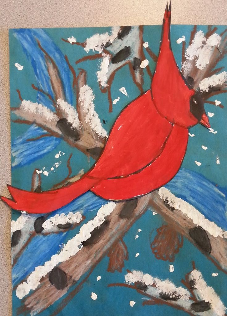 Here's a mixed media winter cardinal project my Grade 2 students finished before Xmas break.    I love the bright red of cardinals and ...