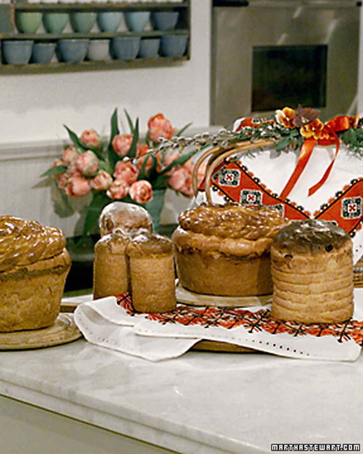 for Ukrainian Orthodox Easter  PASKA (tall cylindrical bread) and babka (short round bread with braids on top pictured above) recipes (correct version, Martha got it wrong. The tall cylindrical bread is Paska and the short round bread with braids on top is Babka)