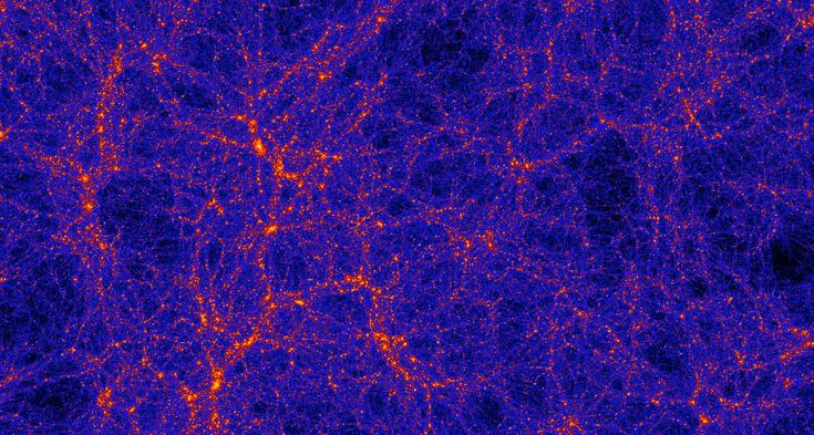 GIANT STRUCTURES The cosmic web shows dark matter filaments and intersections where galaxies reside, in a computer simulation.  ~~ Anatoly K...