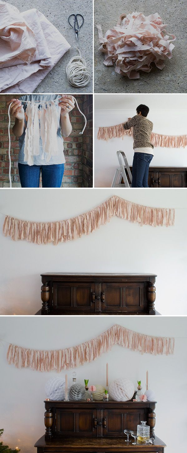 This is so cool!!! She dyed the fabric this gorgeous blush pink naturally from avocados (?!) and then strung on a thin silky rope for garland. Step by step instructions, I love the soft look of this.