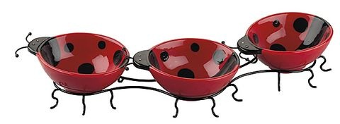 Ladybug Serving Set Set of 3 ceramic ladybugs sit on wire legs that holds this trio together. The Ladybug Serving Set by Boston Warehouse is Perfect for dips or condiments at any party!