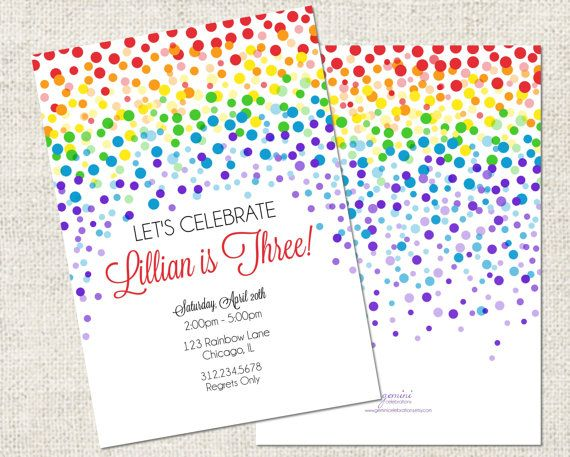 Rainbow Confetti Birthday Invitation, Printable Rainbow Invitation, Personalized Birthday Invitation #TLSFFavthings#PinParty