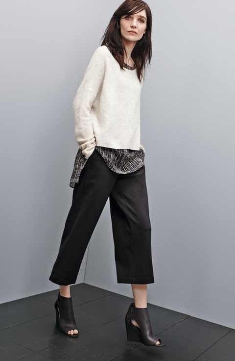 Eileen Fisher Sweater, Silk Shell & Crop Trousers