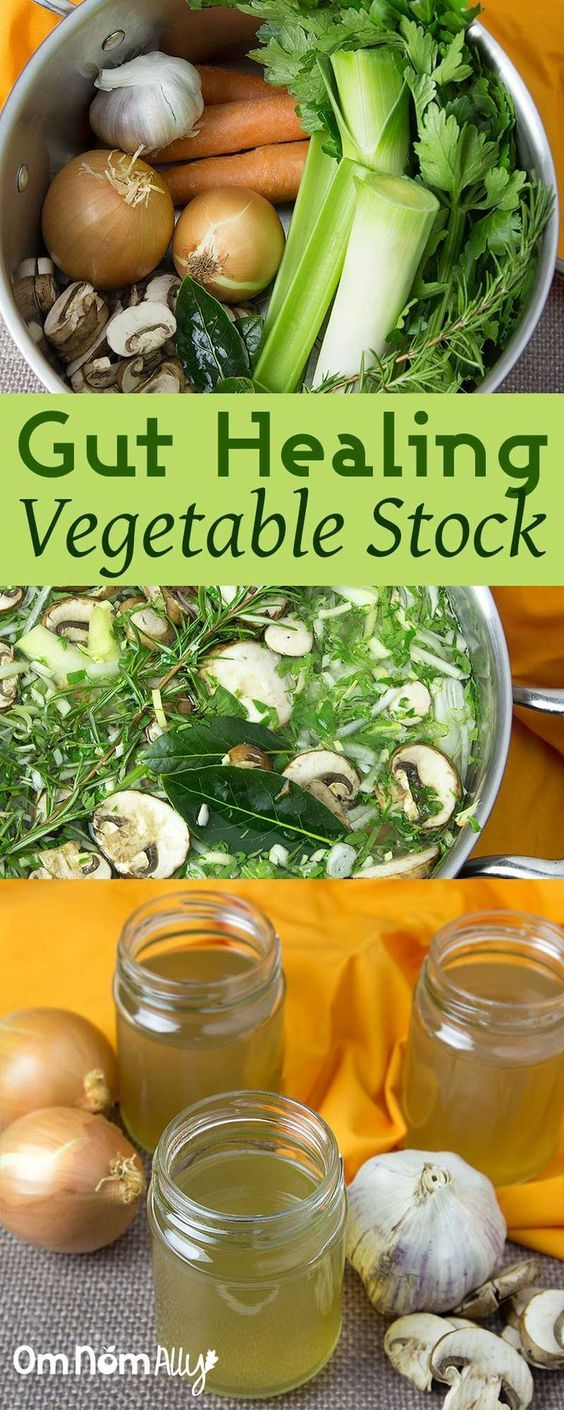 Gut Healing Vegetable Stock @OmNomAlly - Get the gut healing benefits of onions, garlic and mushrooms with this vegetable stock recipe that takes less time than buying stock from the supermarket.