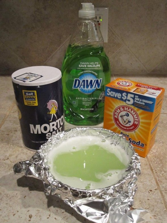 DIY Jewelry Cleaner-nice foaming action.  Worked awesome 1 T salt, 1T baking soda, 1 T dish soap, cup of water (heated 2 min in micro) bowl with tin foil (dont know why but that was what it said).  Let sit for 10 min and rinse in cool water.