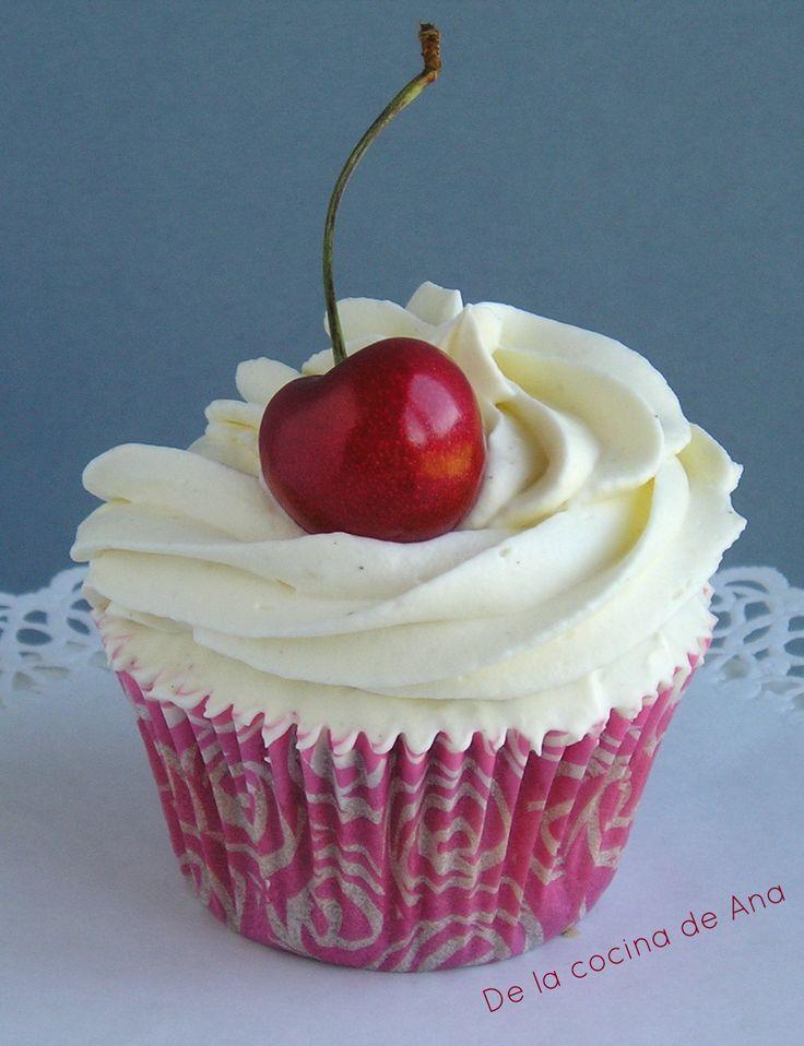 Cupcakes de Vainilla, Cereza y Mascarpone
