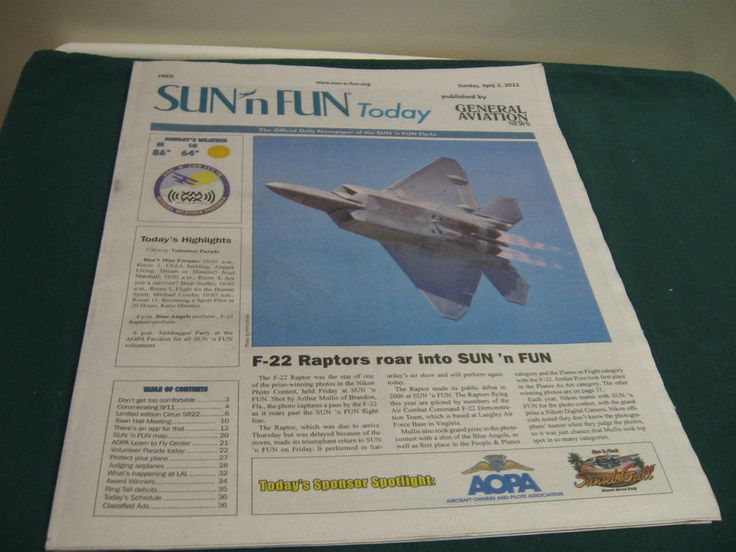 F-22 Raptor at Sun N Fun Today Daily Airshow Newspaper April 3, 2011