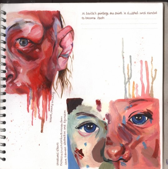 A beautiful A2 Fine Art sketchbook page by Claire Lynn. I love this style. It's a good way to show of your skills as an artist. The paint drips add that extra touch which pages the two images flow together.