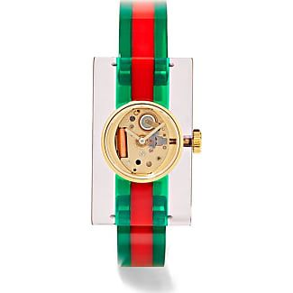 Gucci Plexiglas And Gold-tone Watch - Green