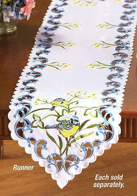 """Столовое белье сине-желтая птица дизайн бегун (68""""x13"""") или цилиндр (34"""" кв.)"""