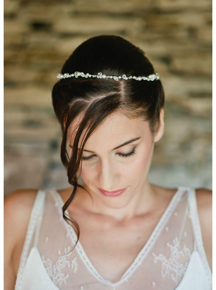 """Couronne mariage """"Odette"""" précieuse avec mélange de perles et cristaux"""