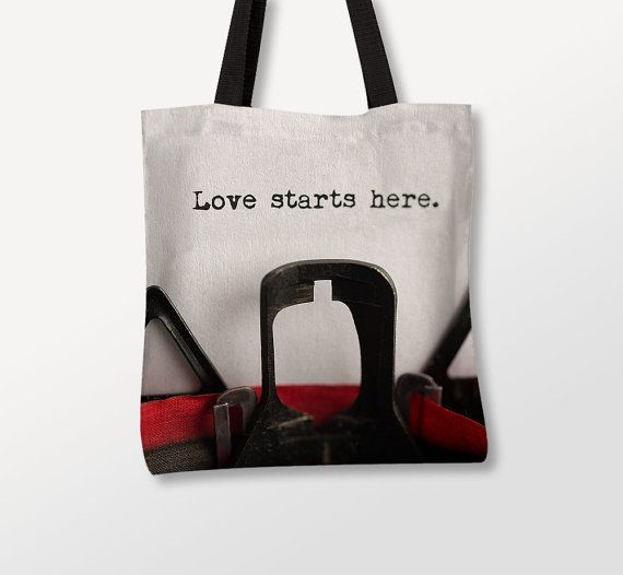 Typewriter Quote, Love Bag, Canvas Tote Bag, Conceptual Photo, Extra Large