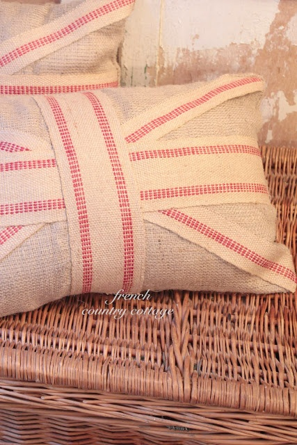 FRENCH COUNTRY COTTAGE: Burlap Union Jack Pillows.add ribbon