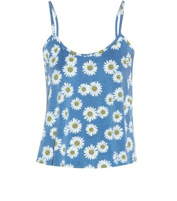 Influence Blue Daisy Print Cami