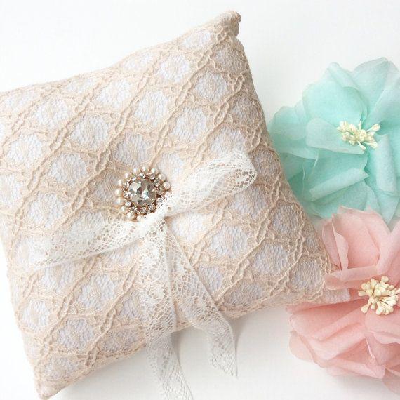 Anello nuziale cuscino portatore cuscino anello, matrimonio cuscino, cuscino anello nuziale, anello portatore, cuscino di pizzo, matrimonio rustico, anello cuscino