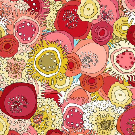 Coral garden fabric by scrummy on spoonflower custom for Constellation fleece fabric
