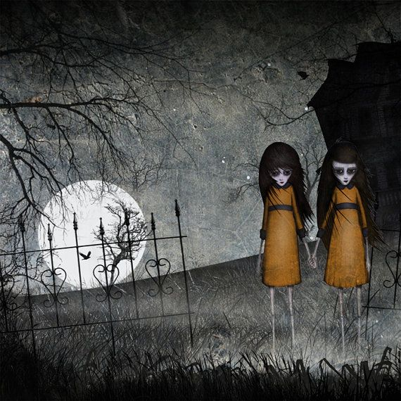 The twins - Two creepy girls in the moonlight outside the haunted house -