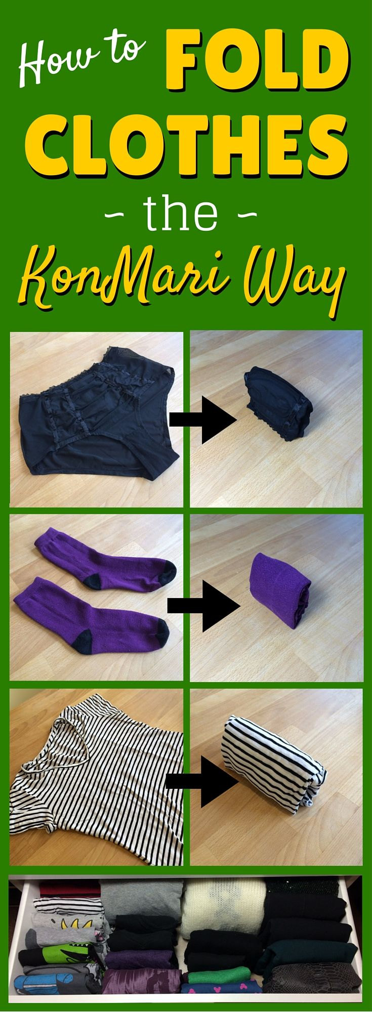 Video demo: How to fold clothes the KonMari way (including t-shirts, jumpers, shirts, hoodies, tank tops, underwear, socks, trousers, dresses, skirts, bras, swimwear and workout gear) -- https://www.youtube.com/watch?v=mZH8-hG2y2Y