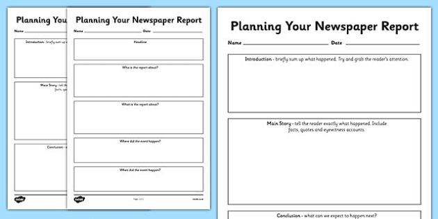 Newspaper Report Planning Templates - newspaper report, writing a newspaper report, newspaper report worksheet, newspaper report planner, worksheets, worksheet, newspaper
