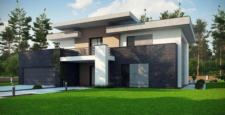 Dom prezentuje się okazale, jest nowoczesny, z dużymi okapami, posiada płaski dach i dwustanowiskowy garaż. Do wykończenia go z zewnątrz użyto 4 materiałów elewacyjnych: drewna, białego tynku, czarnego kamienia i surowego betonu. Do elewacji dodano elementy dekoracyjne w postaci pionowych żaluzji, które jednocześnie pełnią funkcję osłony słonecznej.