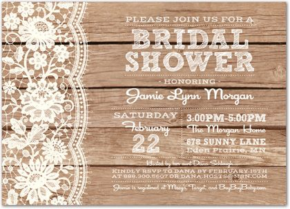 Bridal Shower Invitations, White Lace On Rusty Wood Bridal Shower Invitations