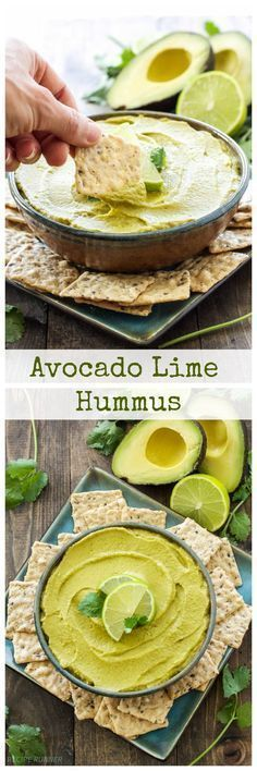 Avocado Lime Hummus   All the flavors of guacamole and hummus come together in one delicious dip!