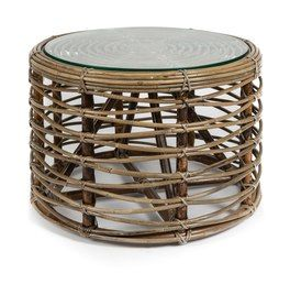 Natural Rattan Round Coffee Table with Glass - 60x60x40cm