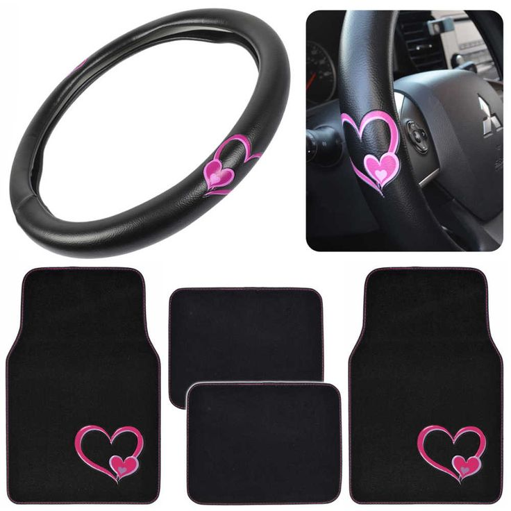 Pretty Rugs Gift Pack - Matching Hearts Design - Black Carpet Floor Mats w/ Synthetic Leather Grip Steering Wheel Cover