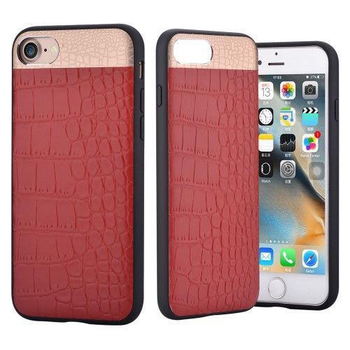 COMMA for iPhone 7 4.7 Crocodile Texture Genuine Leather Coated PC TPU Hybrid Mobile Casing - Red