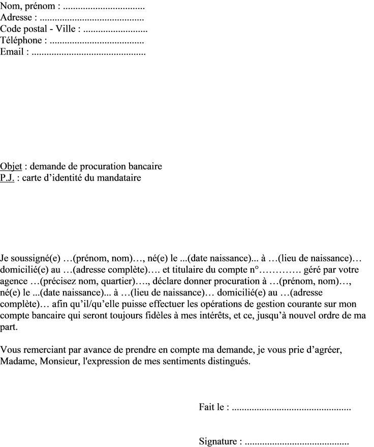 Exemple lettre procuration bancaire pour gestion courante compte banque (avec images) | Exemple ...