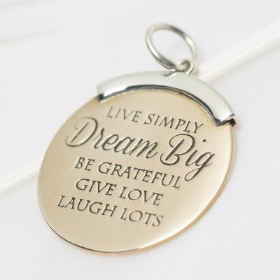 Live simply dream big charm #3215 > RRP $AUD39.60 #dream #sparkle #shine #bright #palasjewellery #palas #lovepalas #quote