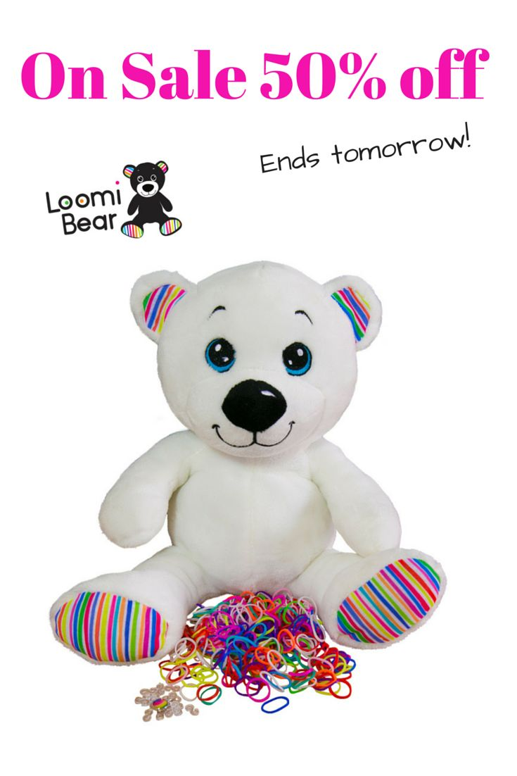 Loomi Bear is ON SALE at 50% off.  Get in quickly, sale ends tomorrow night!  #loomibear #rainbowfunloves #rainbowfun #RLoombear http://www.rainbowfun.com.au/loomi-bear-plush