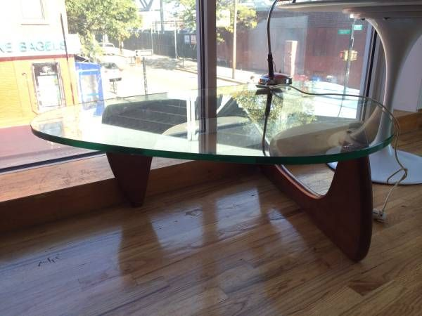 Mid Century Solid wood and glass Noguchi style Coffee table - $240 (carroll gardens)