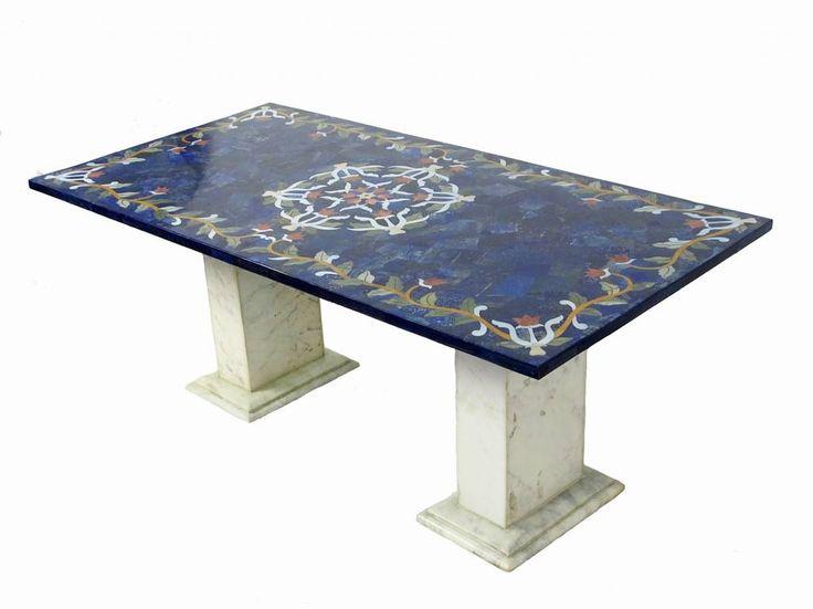 120x60 Cm Marmor Authentic Lapis Lazuli Pietra Dura Couchtisch Tisch Florentiner Mosaik Intarsienarbeit Wohnzimmertisch Afghanistan