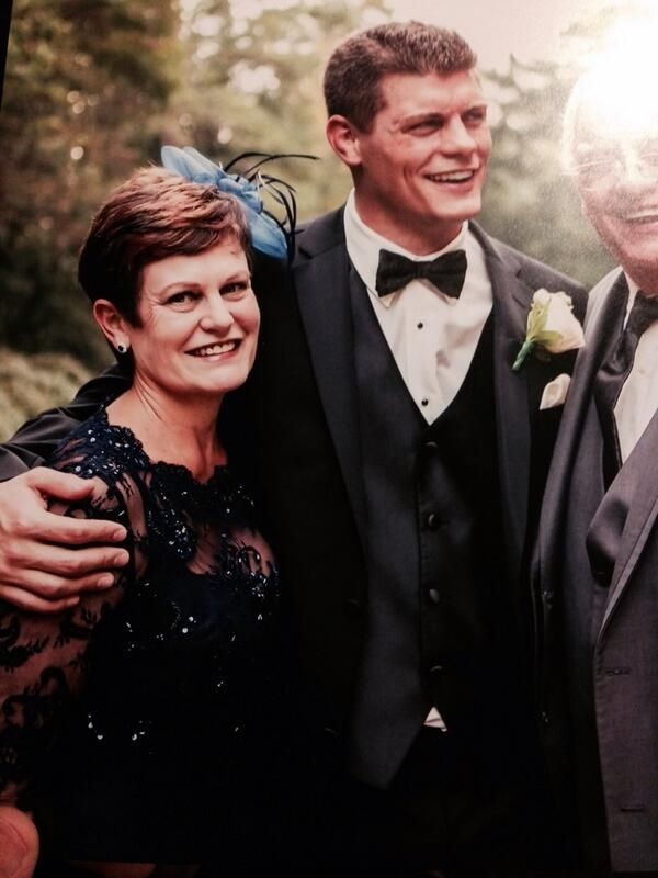 Dusty Rhodes and his wife Michelle with their son Cody Rhodes on his wedding day