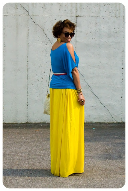 yellow maxi skirt    Erica B.'s - D.I.Y. Style!: What I'm Wearing   Mixing Colors!
