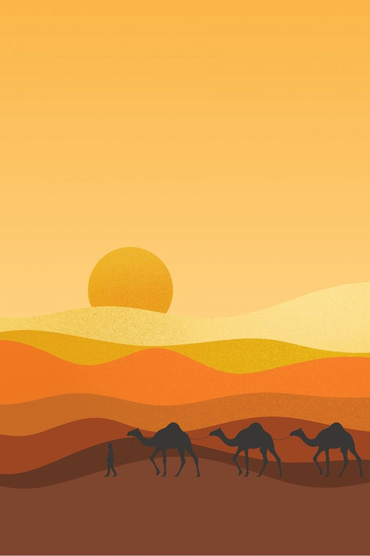 Gurun Unta Jalan Sutera Latar Belakang Poster Desert Illustration Wallpaper Ilustrasi Road Illustration
