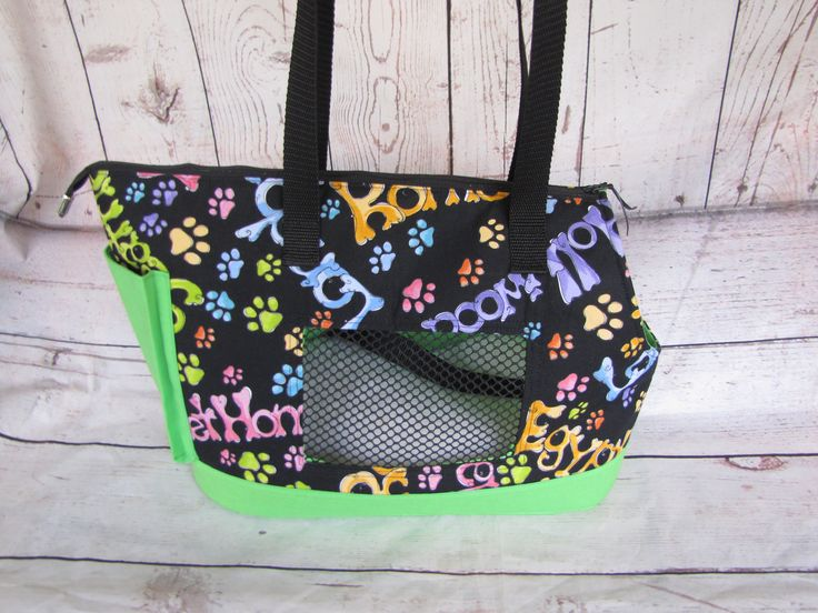 Black and Green Large Dog Carrier by PoochandFelinePalace on Etsy