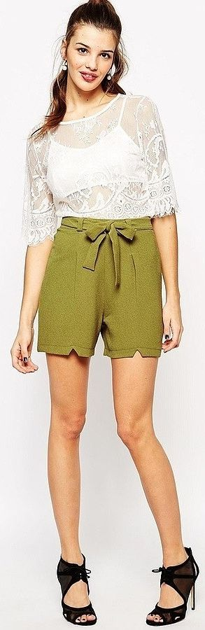 Yes you CAN wear shorts to the office! And this crepe tie-front pair is proof.