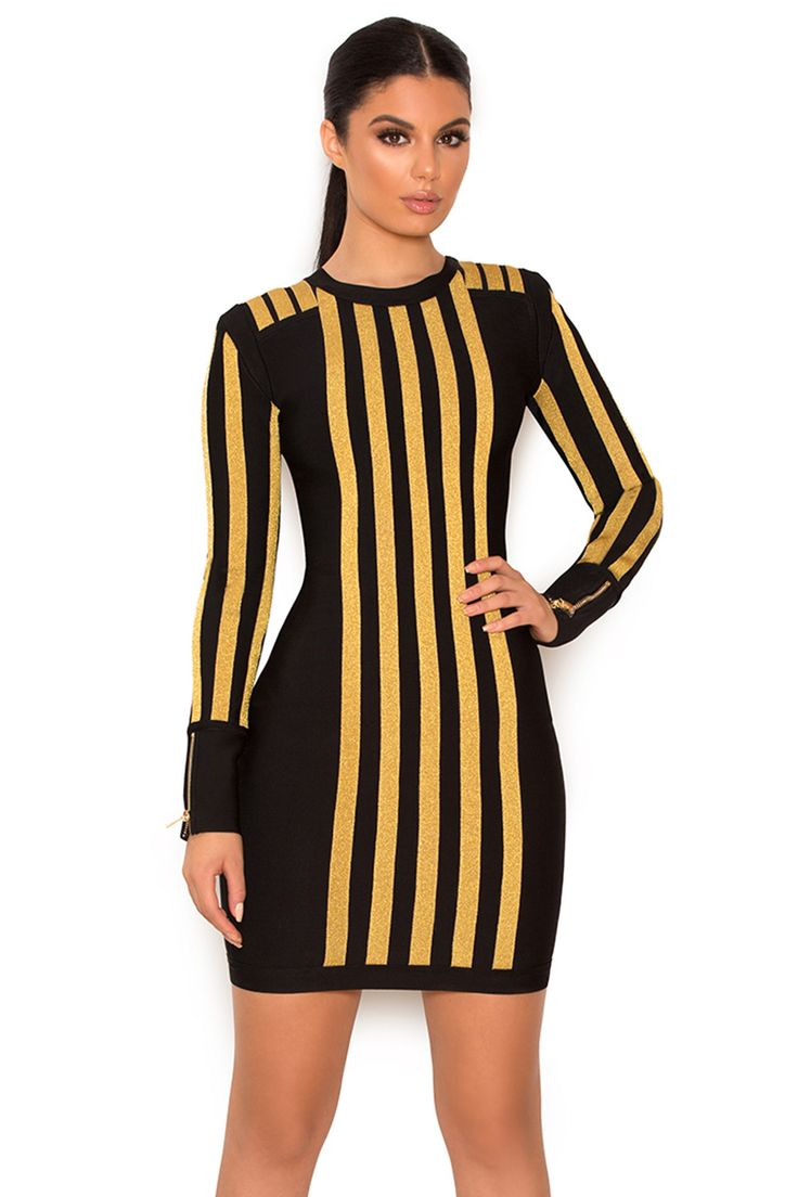 Balthazar Black and Gold Bandage Dress