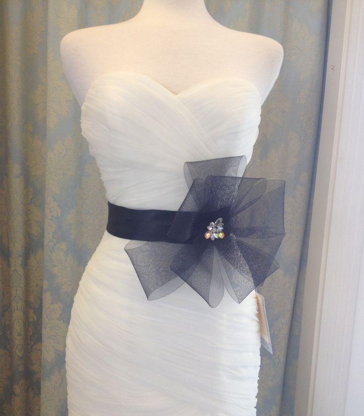 "Dramatic black horsehair ""bow"" on black satin ribbon.  Sale $29  reg $65"