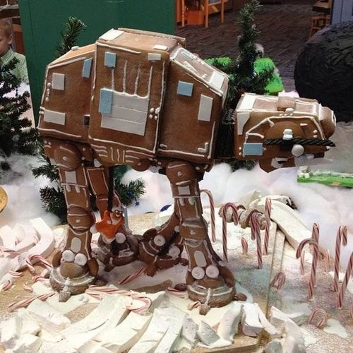 """Gingerbread Imperial Walker, an AT-AT (all-terrain armored transport), recognized most from the invasion of Hoth at the beginning of """"Star Wars Episode V: The Empire Strikes Back."""""""