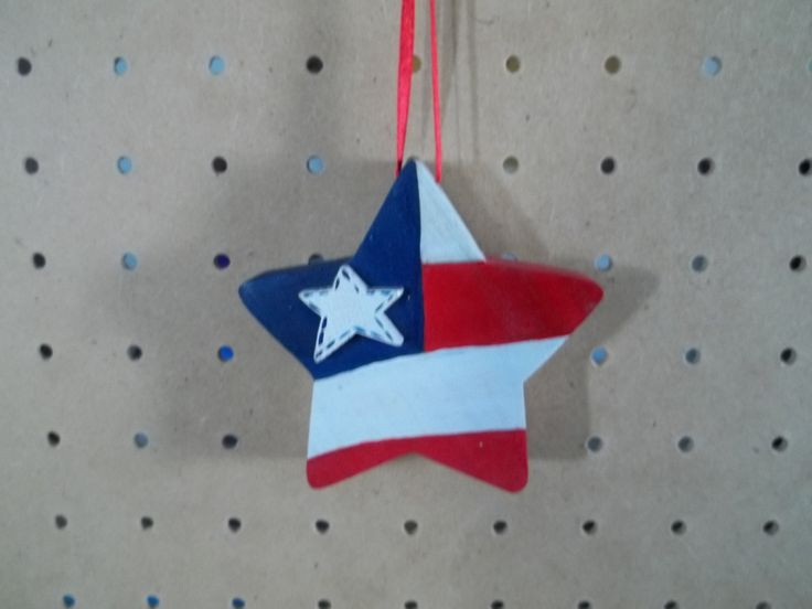 Patriotic Star Ornament Handmade and Hand Painted by KnottyCrafters on Etsy