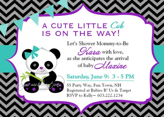 Panda Baby Shower Invitation Black White by AsYouWishCreations4u