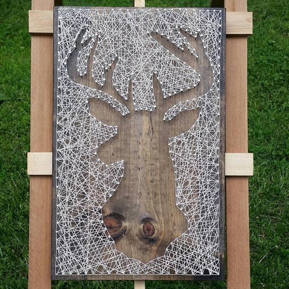 String Art Deer Silhouette in Reverse Style on Dark Stained Wood. Ready to Hang…